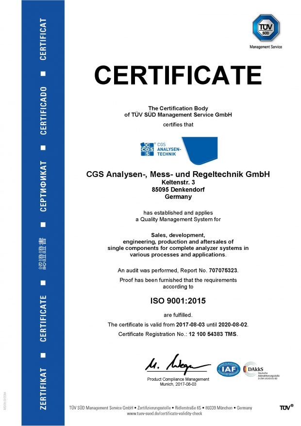 ISO 9001:2015 Certificate CGS